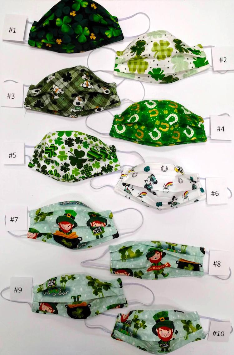 Handmade St. Patrick's Day Face Masks