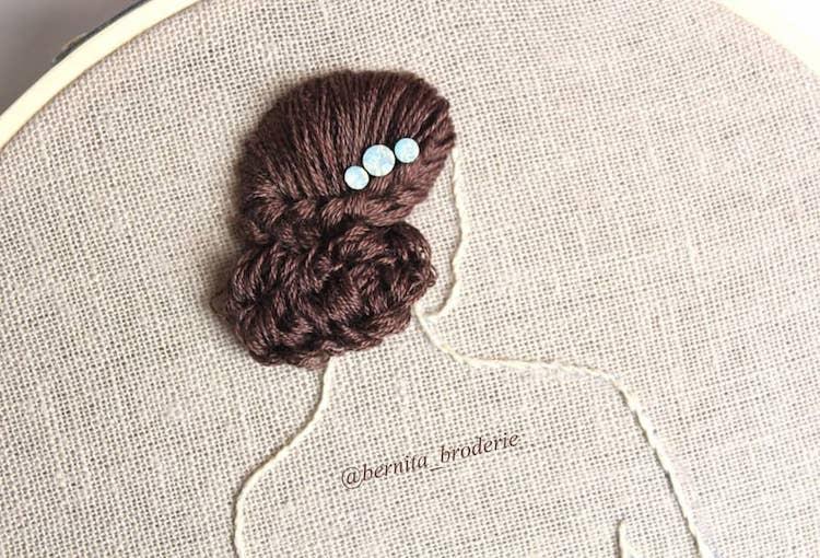 Peinados bordados tridimensionales por Bernita Broderie