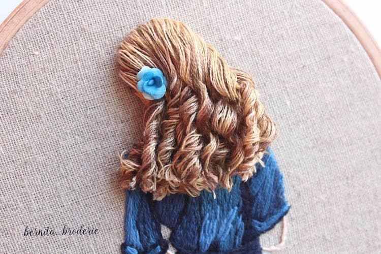 Peinado bordado en 3D por Bernita Broderie