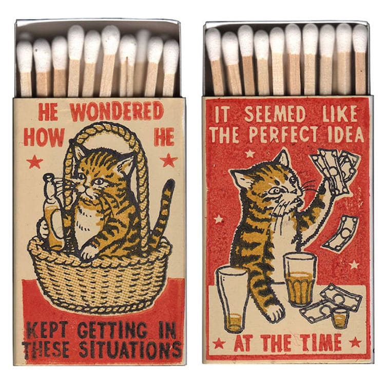 Cat Matchbox Art by Arna Miller and Ravi Zupa