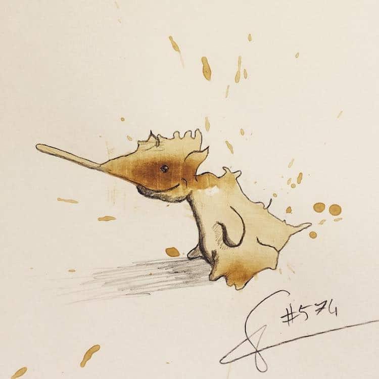 Coffee Art Monster Drawings by Stefan Kuhnigk