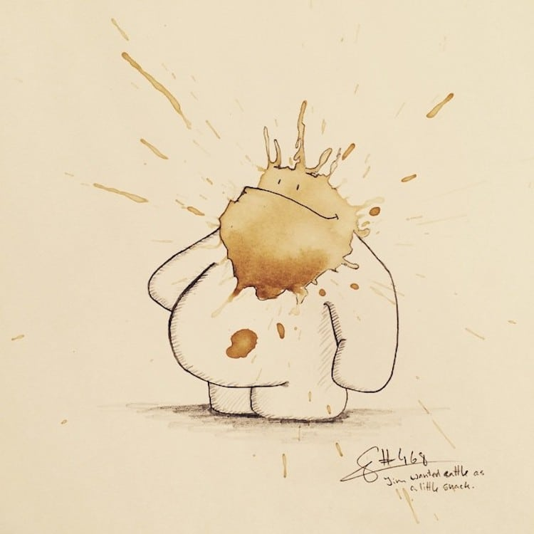 Coffee Art Monster Drawings by Stefan Kuhnigk