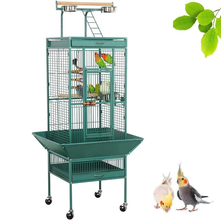 Wrought Iron Rolling Large Bird Cage