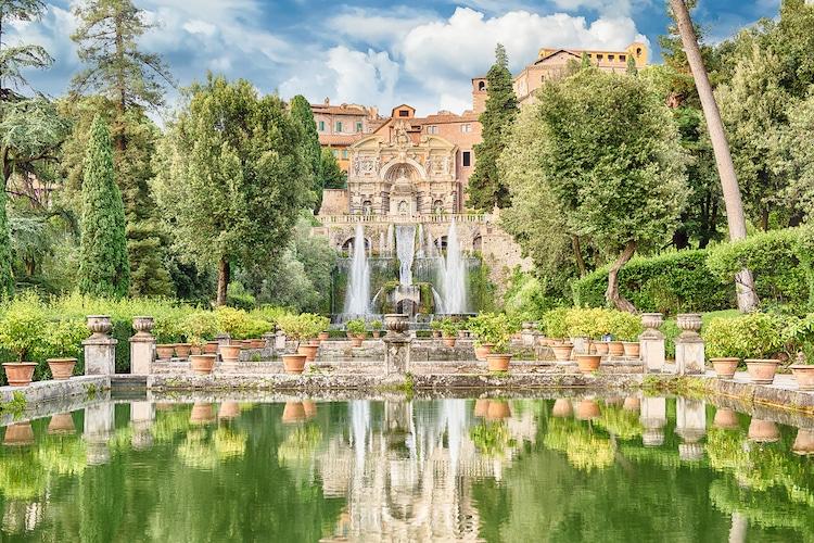 Famous Tivoli Gardens at Villa D'Este in Italy
