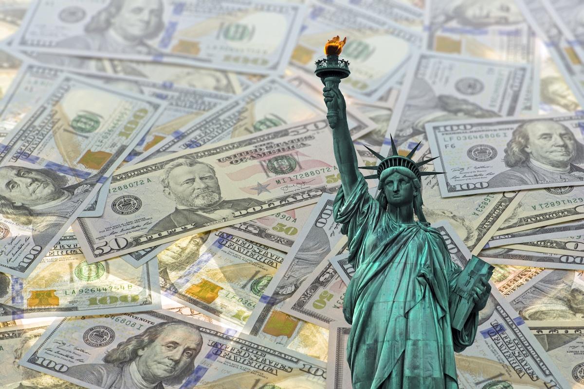 Statue of Liberty Among Money