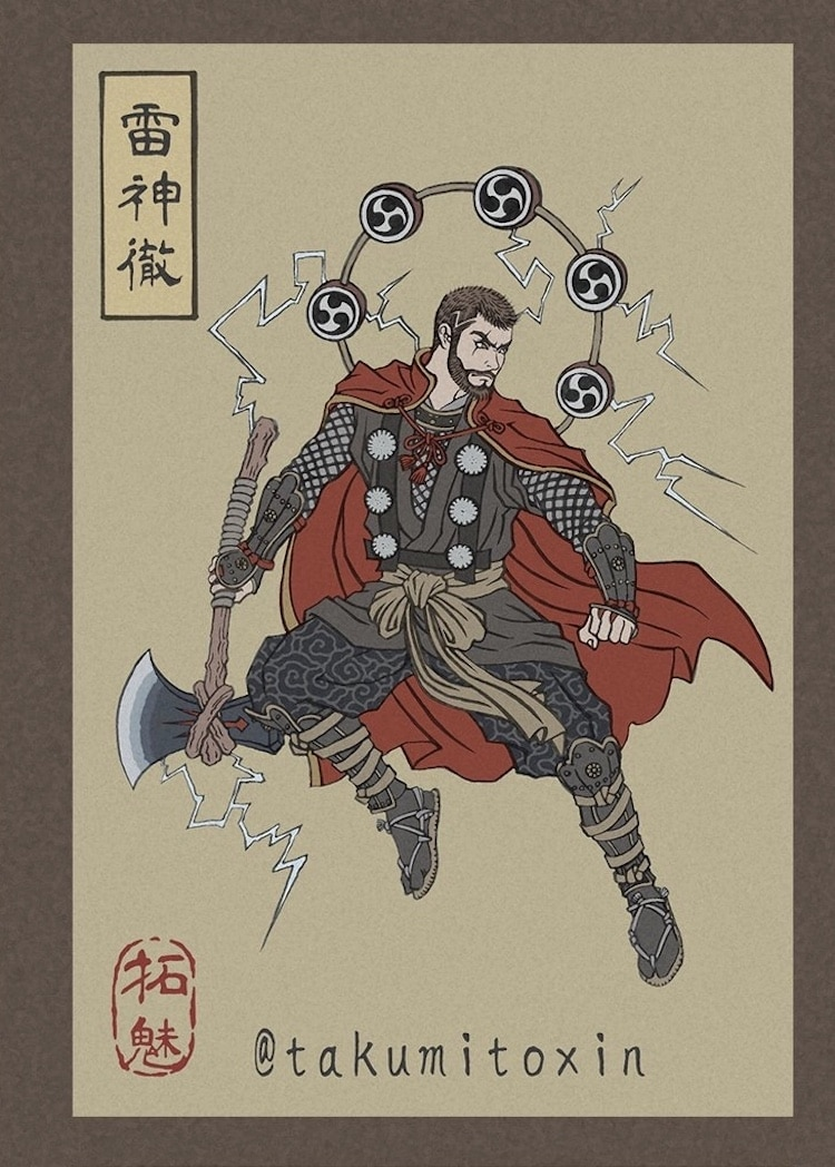 Avengers Ukiyo-e Illustrations by Takumi