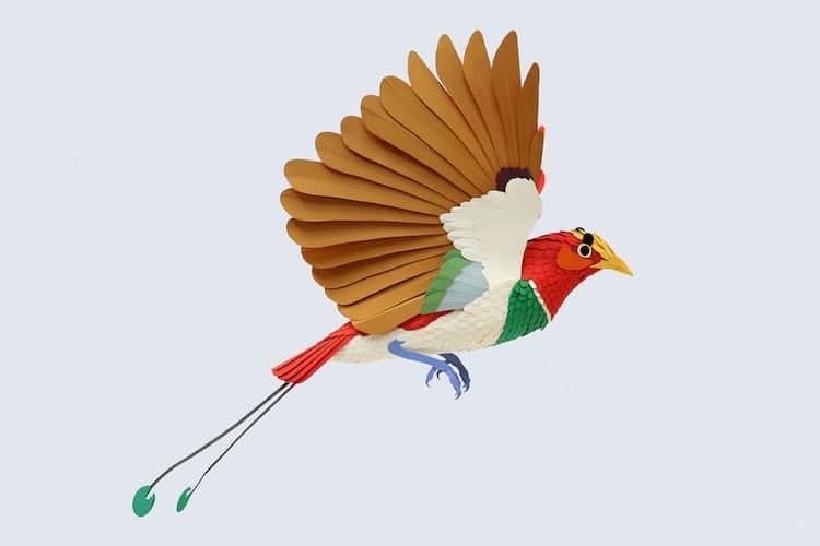 Bird Paper Sculpture by Diana Beltran Herrera