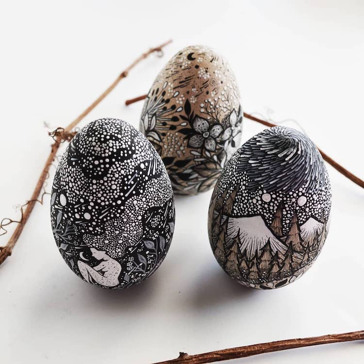 Ink Drawings on Wooden Eggs by Meni Chatzipanagiotou