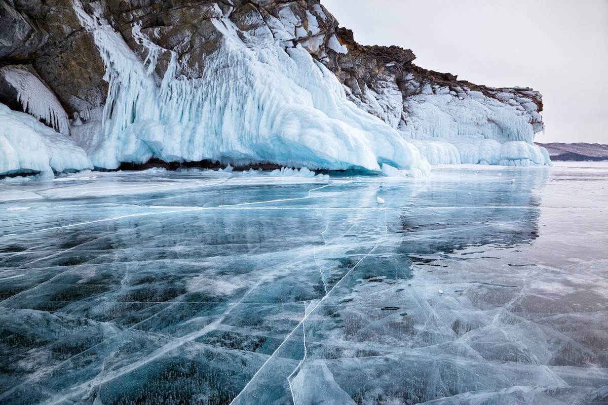 Lake Baikal Frozen in the Winter