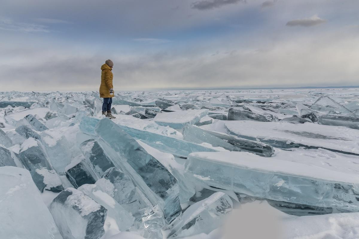 Lake Baikal Frozen in the Winter