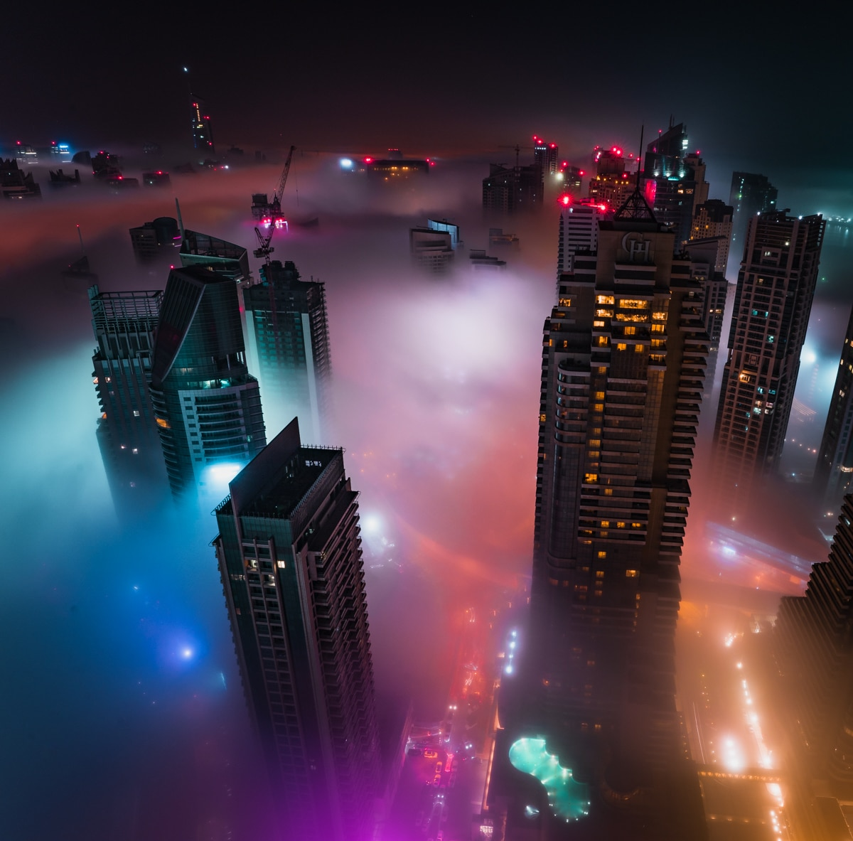 Aerial View of City Covered in Fog