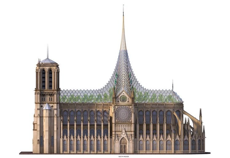 Notre Dame Cathedral Roof Reconstruction by Vincent Callebaut