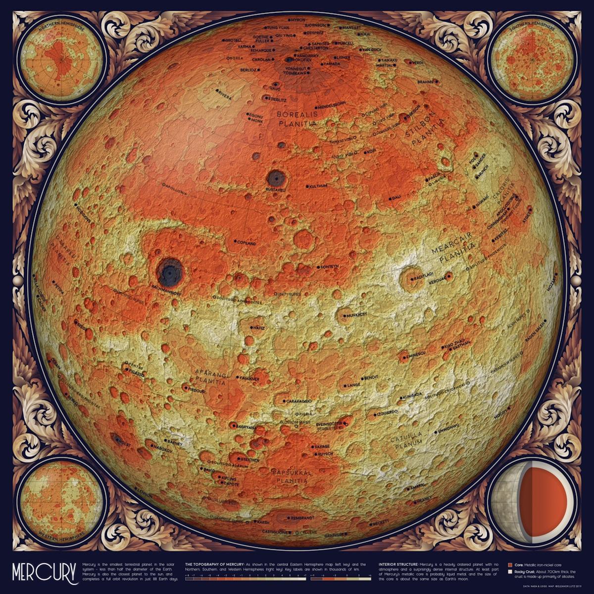Mercury Map Vintage Style
