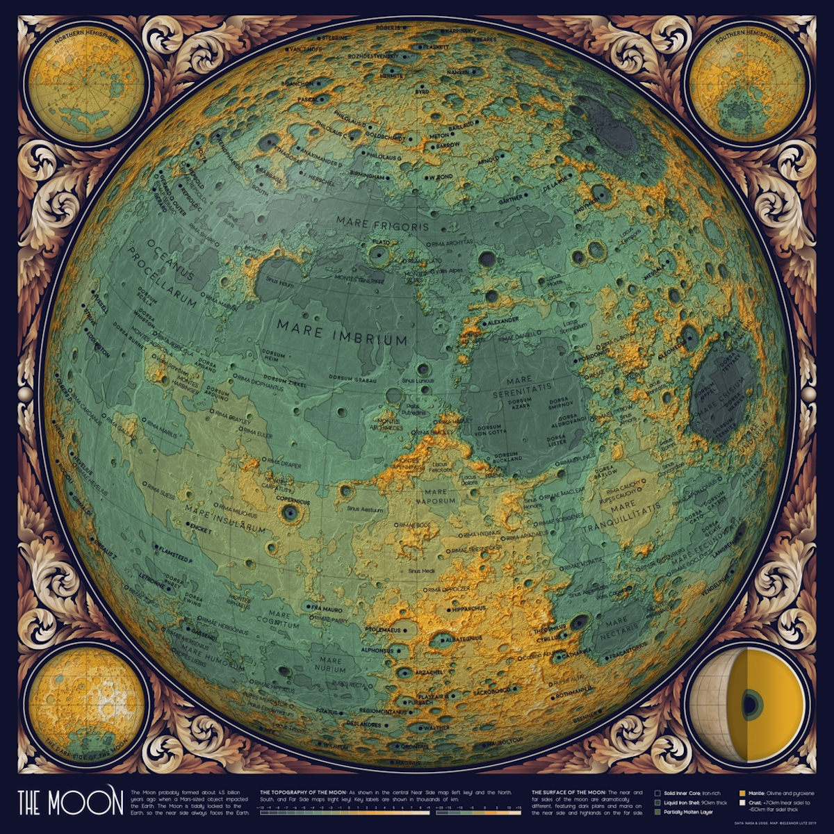 Vintage Looking Map of the Moon