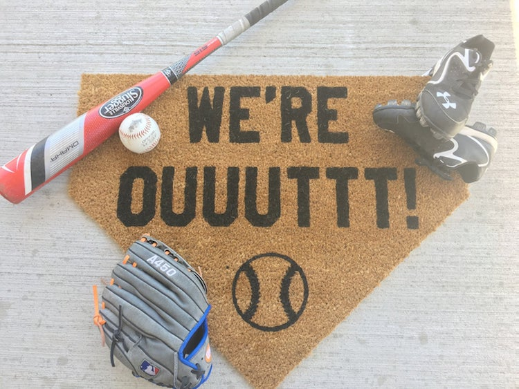 Baseball Welcome Mat by Muck and Mayhem