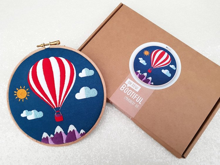 Hot Air Balloon Embroidery Kit