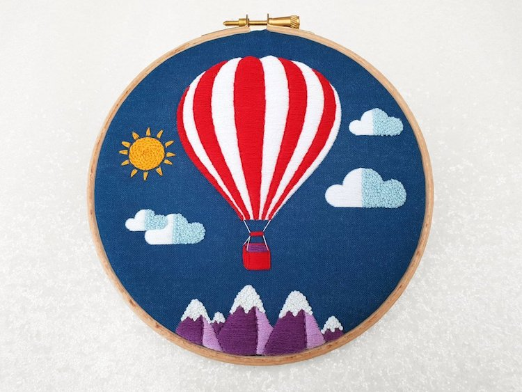 DIY Hot Air Balloon Embroidery