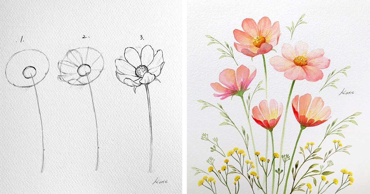 Artist Reveals The Simple Steps To Drawing Perfect Flowers