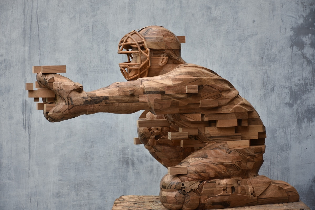 Hsu Tung Han - Pixelated Wood Sculpture