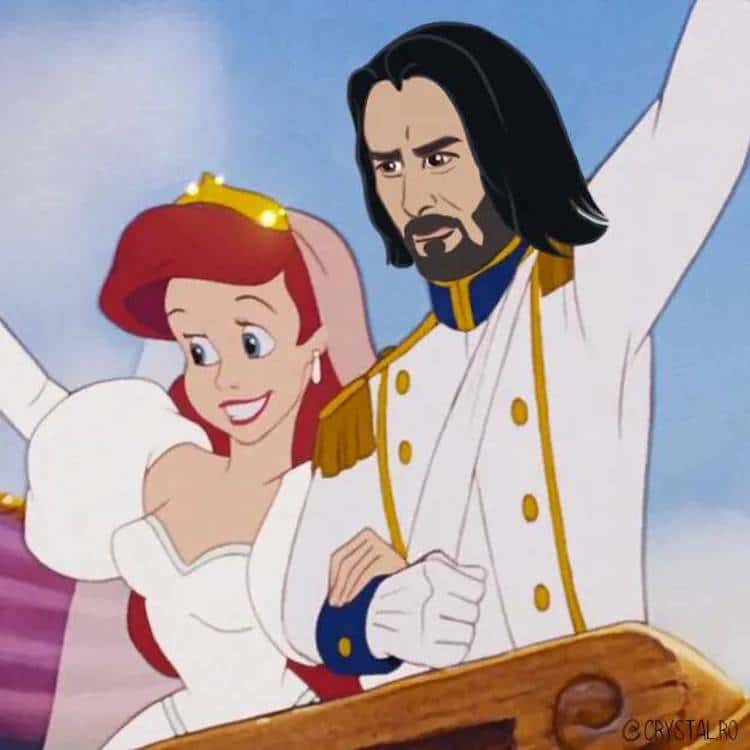 Disney Mashup Art Imagies Keanu Reeves As Iconic Animated Princes