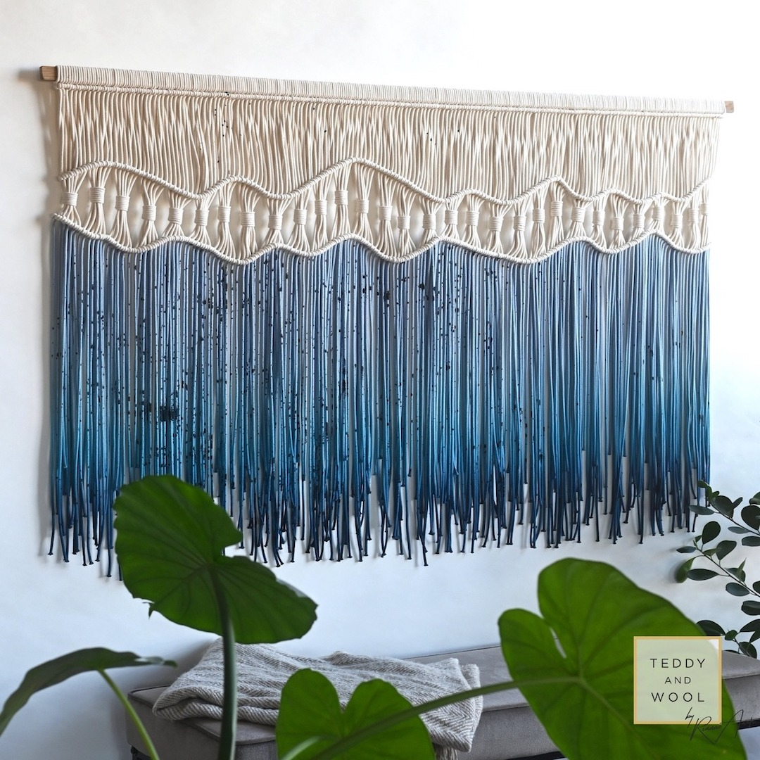 Macrame Wall Hanging Fiber Art Teddy and Wool