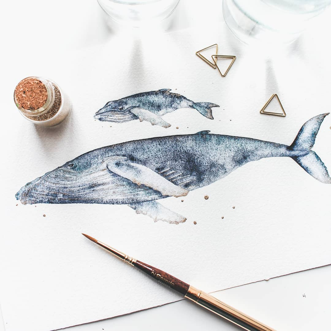Whale Paintings by Canan Esen