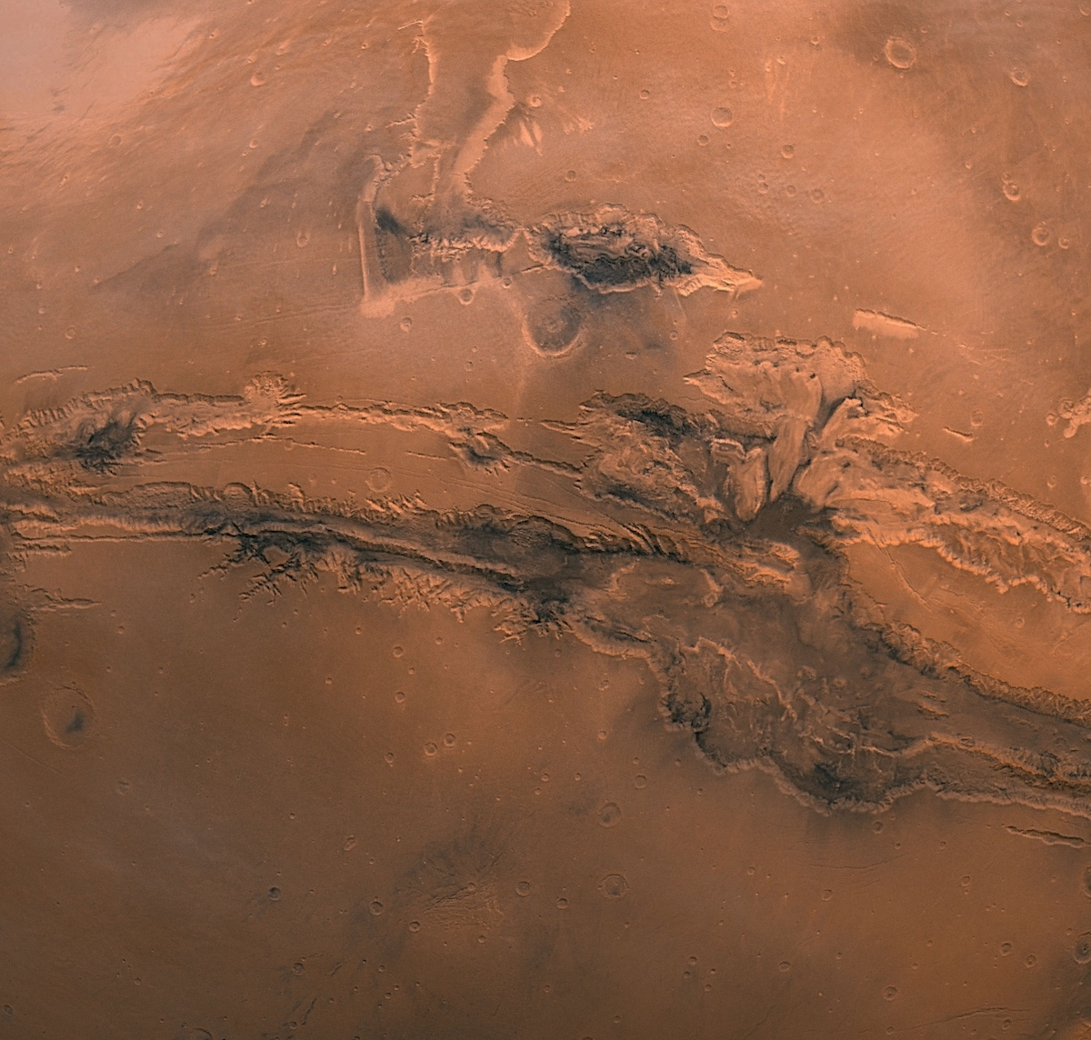 Detail of Mariner Valley on Mars