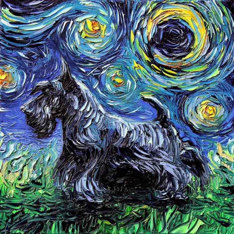 Noche estrellada con perros