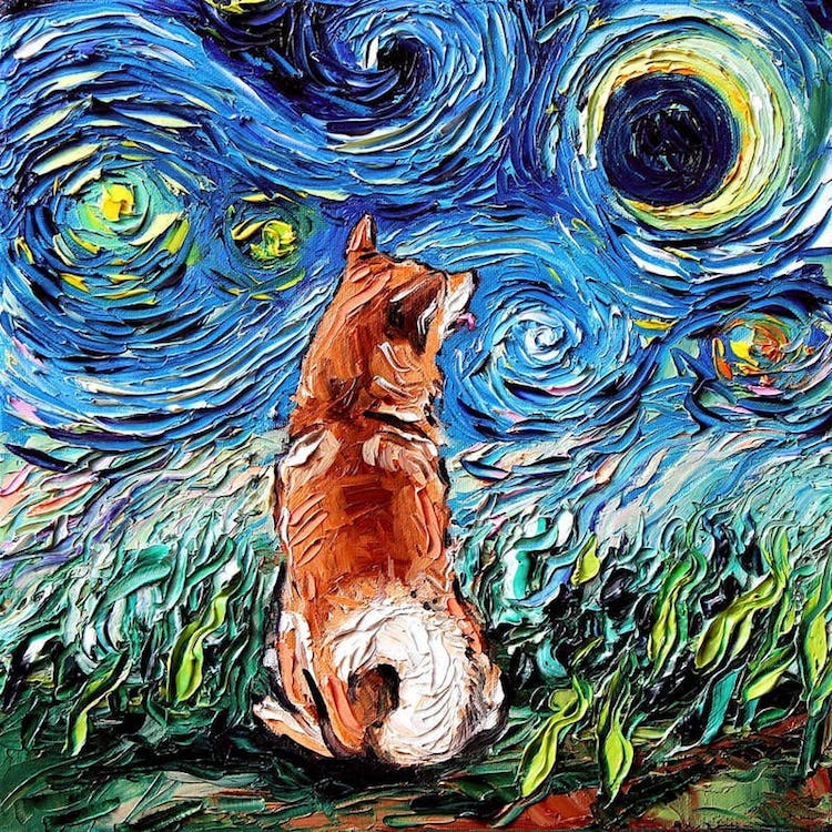 Starry Night Dogs by Aja Kusick