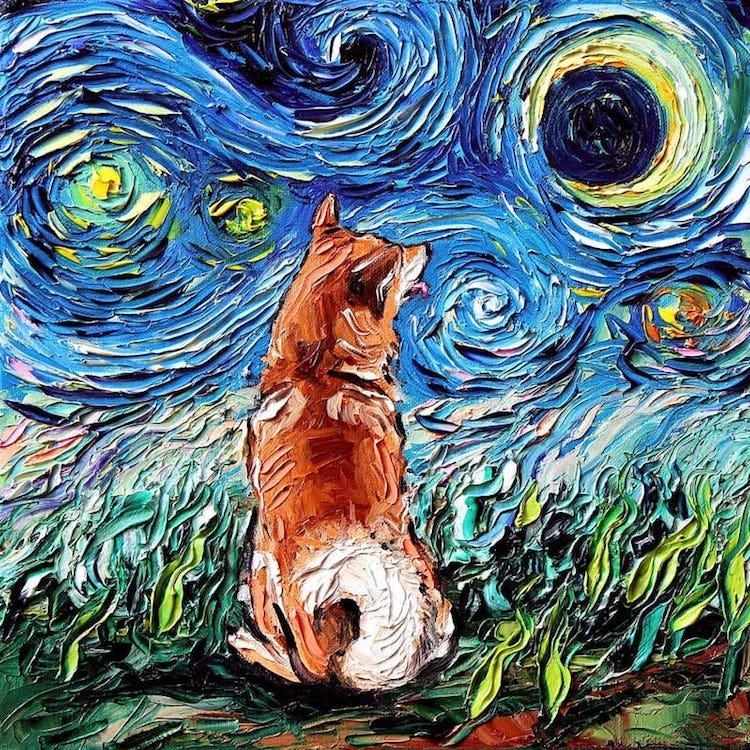 Perros en la noche estrellada por Aja Kusick