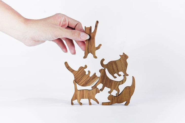 chats en bois