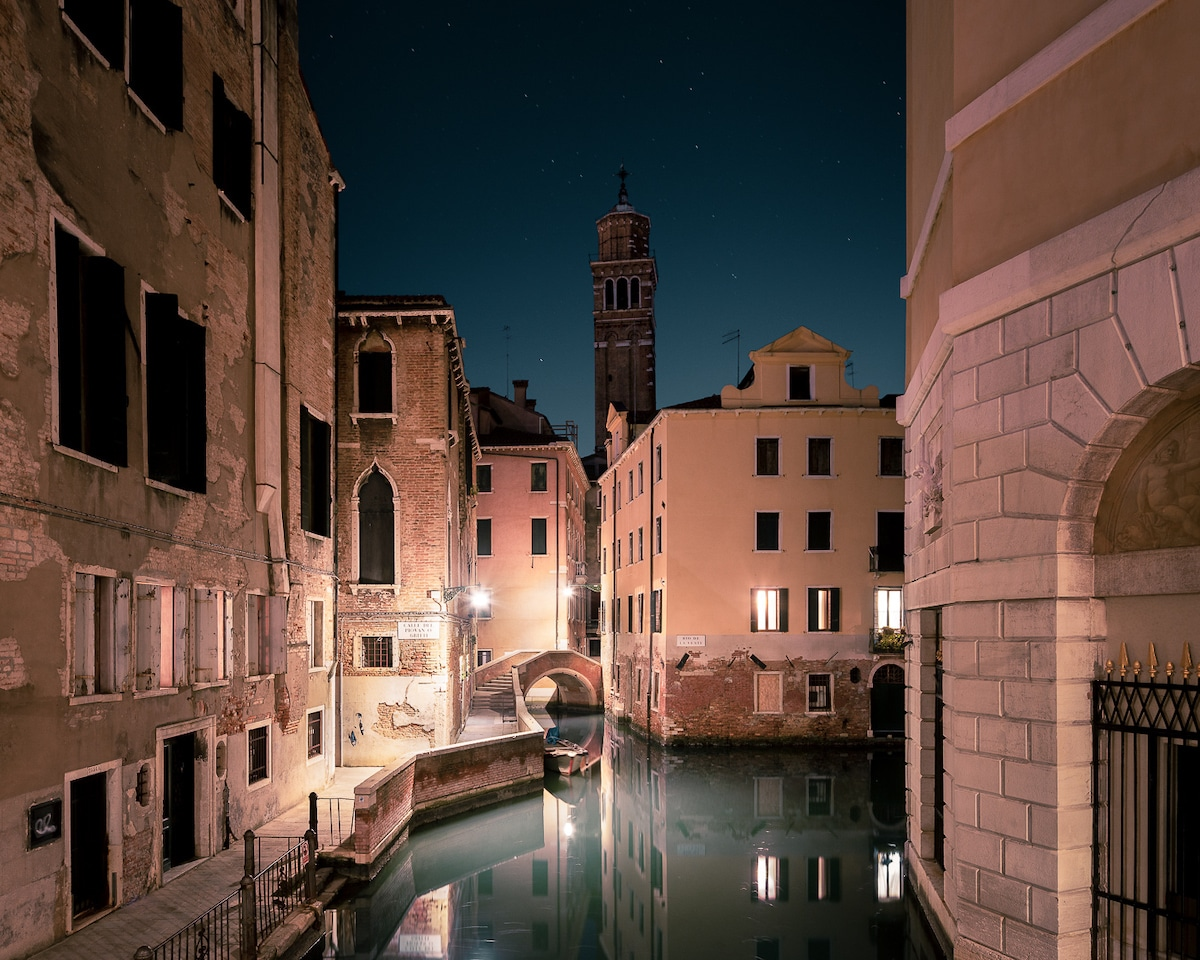 canales de Venecia de noche