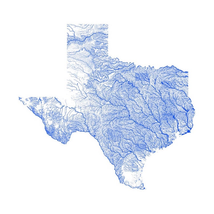 Stunning Minimalist Waterway Maps Of The United States - Map-of-all-the-rivers-in-the-us