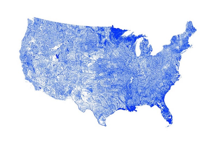 Show A Map Of United States.Stunning Minimalist Waterway Maps Of The United States