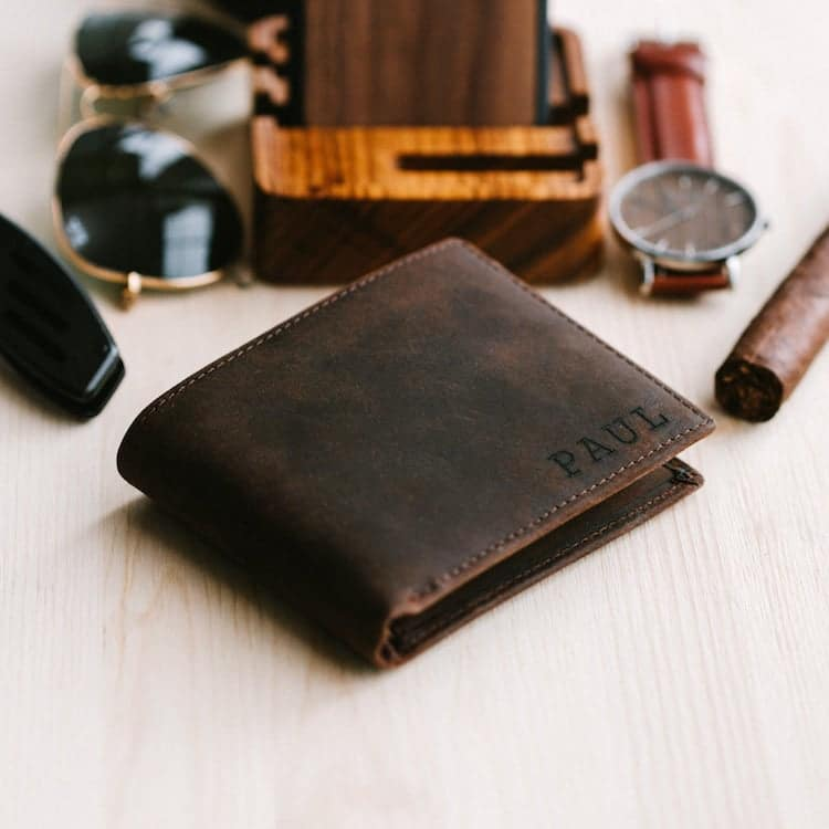 Engraved Leather Wallet by Stay Fine Personalized