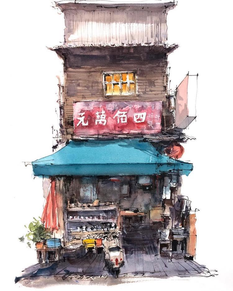 Watercolor Travel Art by Zhifang Shi