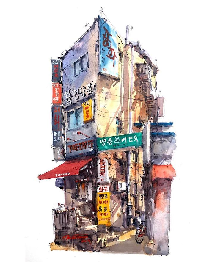 Watercolor Travel Art by Zhifang Shi