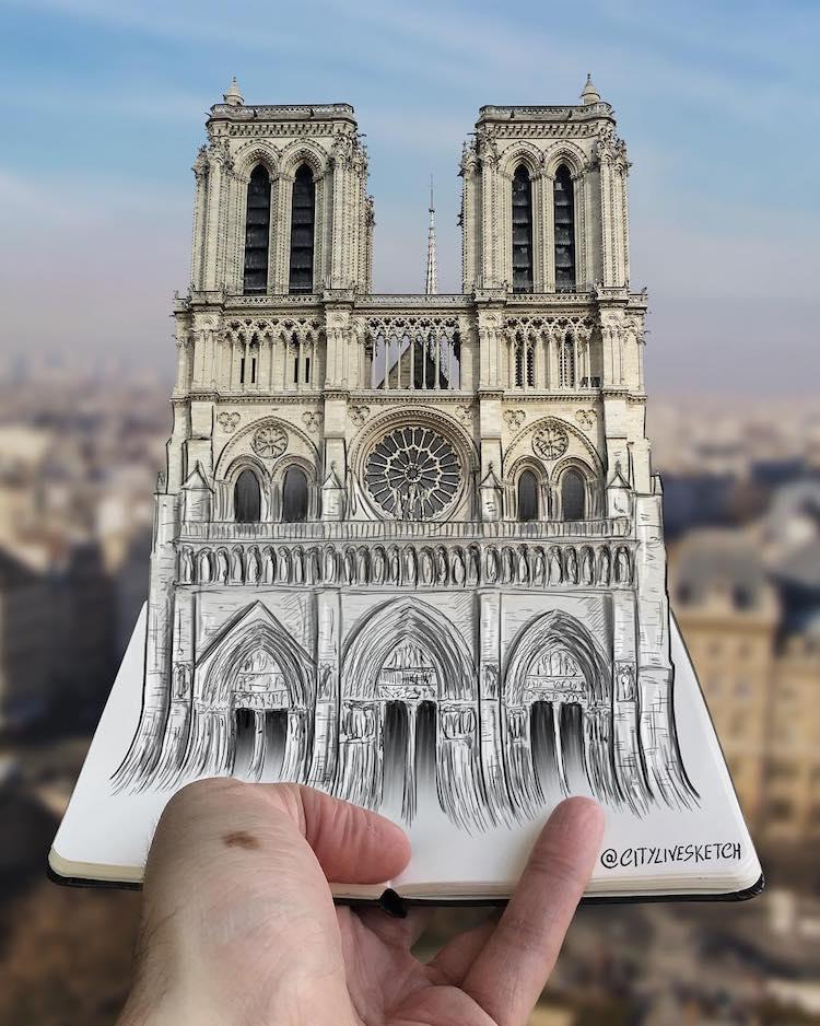 cuaderno de viaje con dibujos en 3d a lapiz