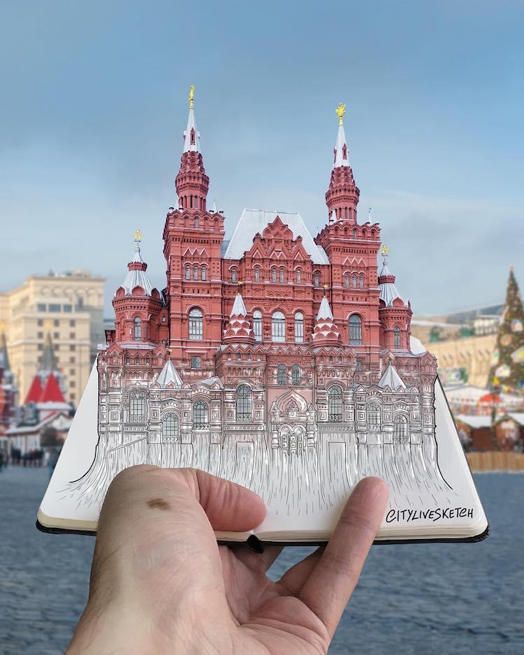 cuaderno de viaje con dibujos en 3d