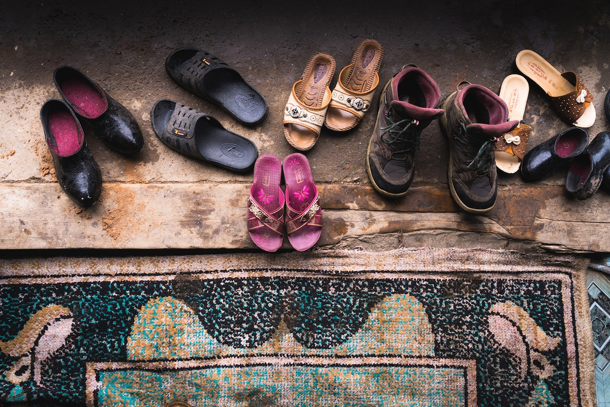 Shoes on the Floor of a Home in Kyrgyzstan