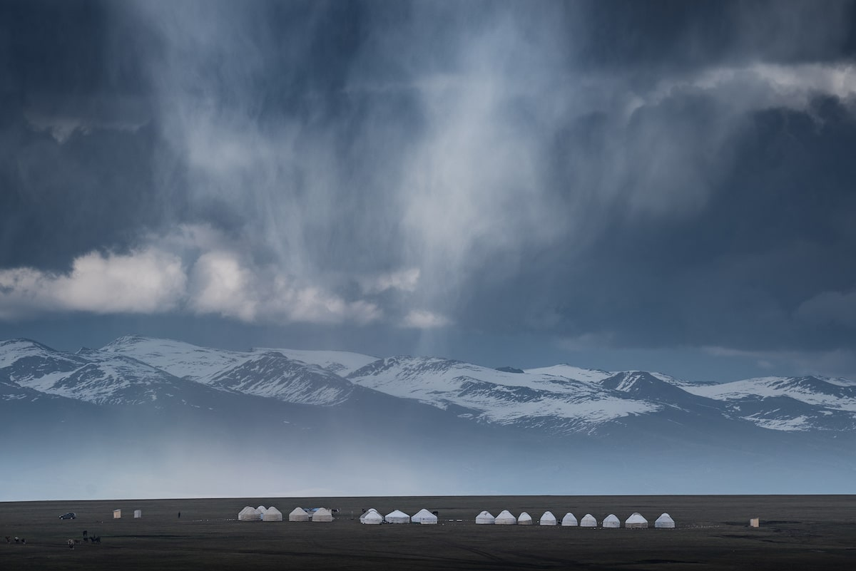 Dramatic Landscape with Yurts in Kyrgyzstan