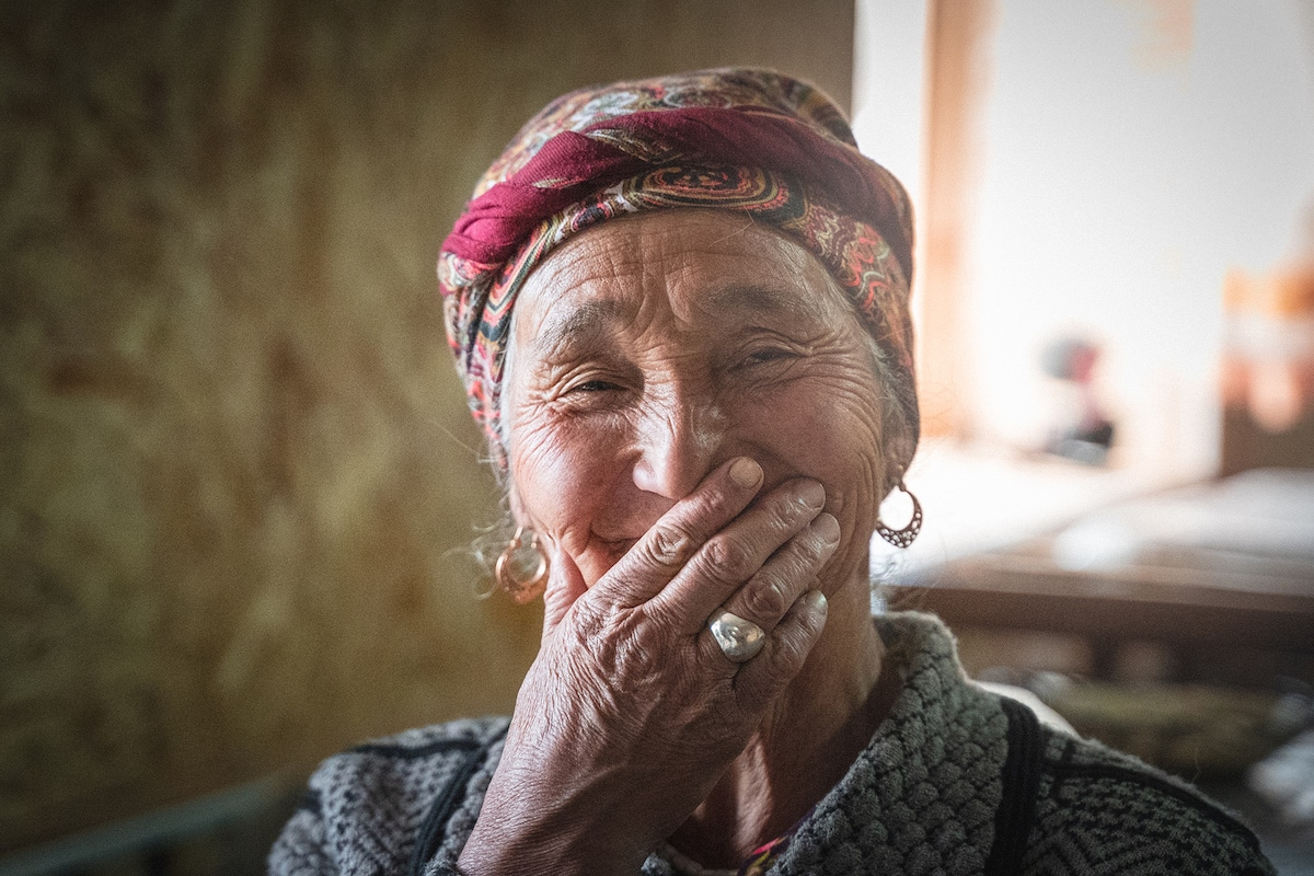 Woman from Kyrgyzstan Covering Her Smile