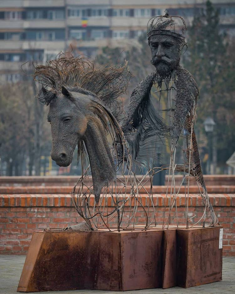 Contemporary Equestrian Statue by Darius Hulea
