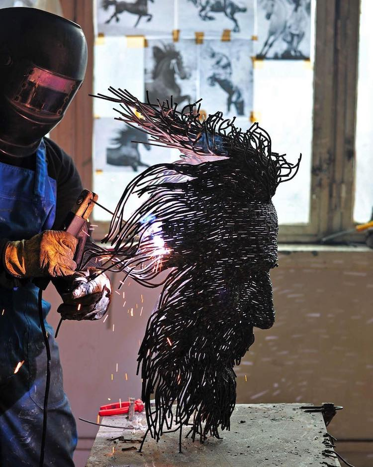 Portrait of Darius Hulea While Sculpting