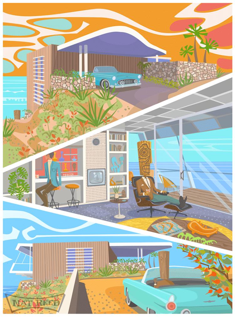 Ilustraciones de inspiración retro por Nat Reed