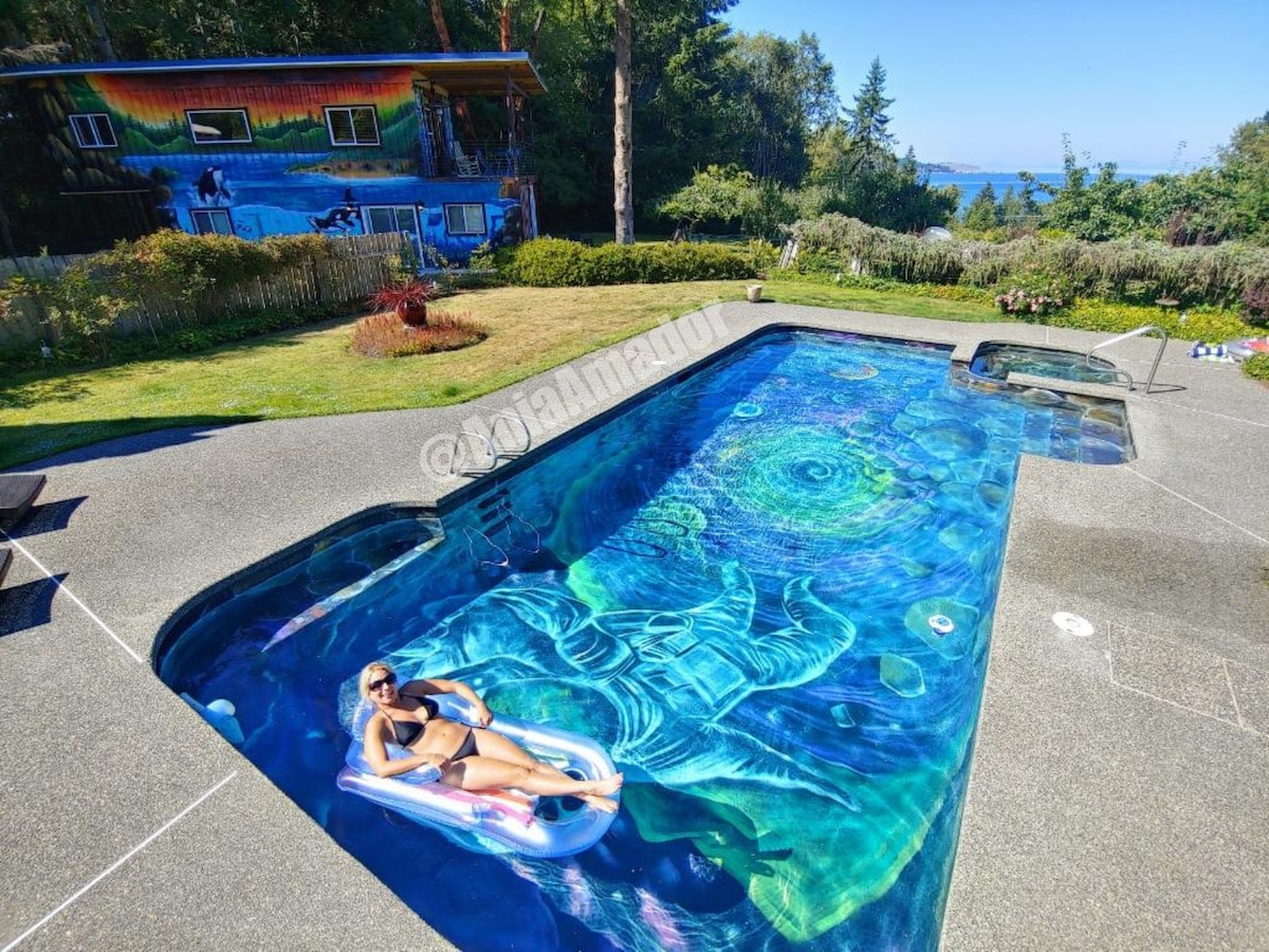 Mural dentro de una piscina