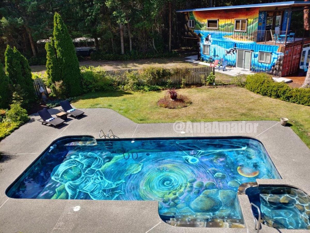 Mural en una piscina