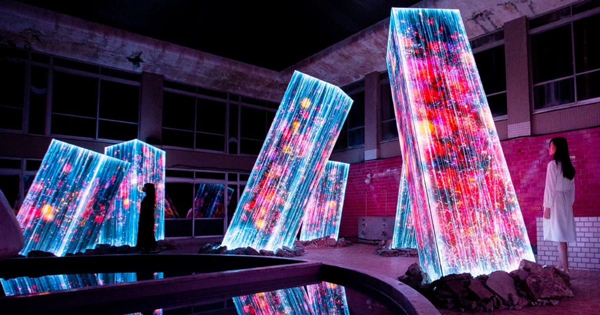 Immersive Nature Art Projections Emerge on Megaliths in a Japanese Bath House