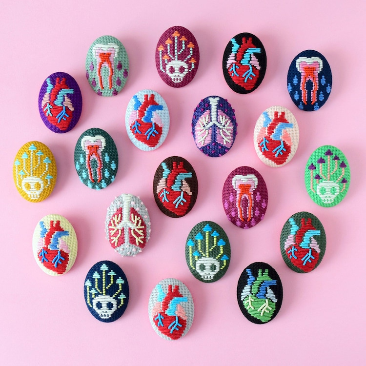 Embroidery Anatomy Brooches by Hiné Mizushima