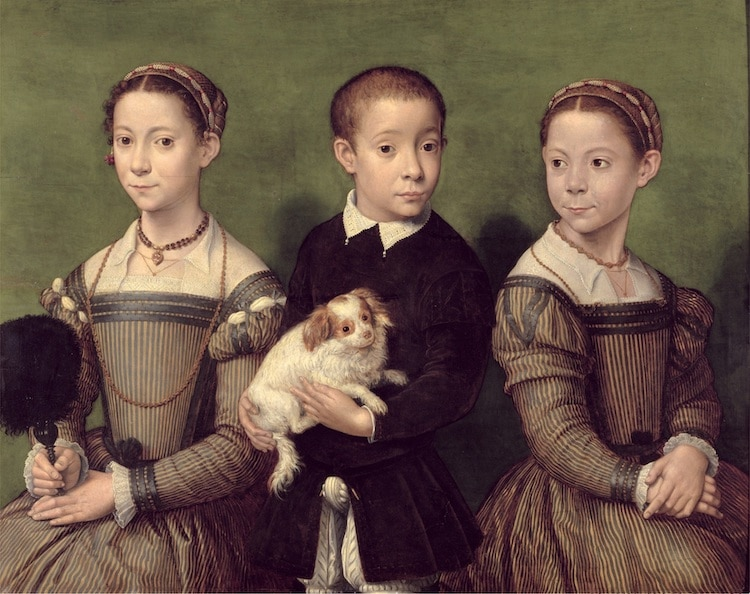 Sofonisba Anguissola - Two Sisters and a Brother of the Artist (oil on panel)